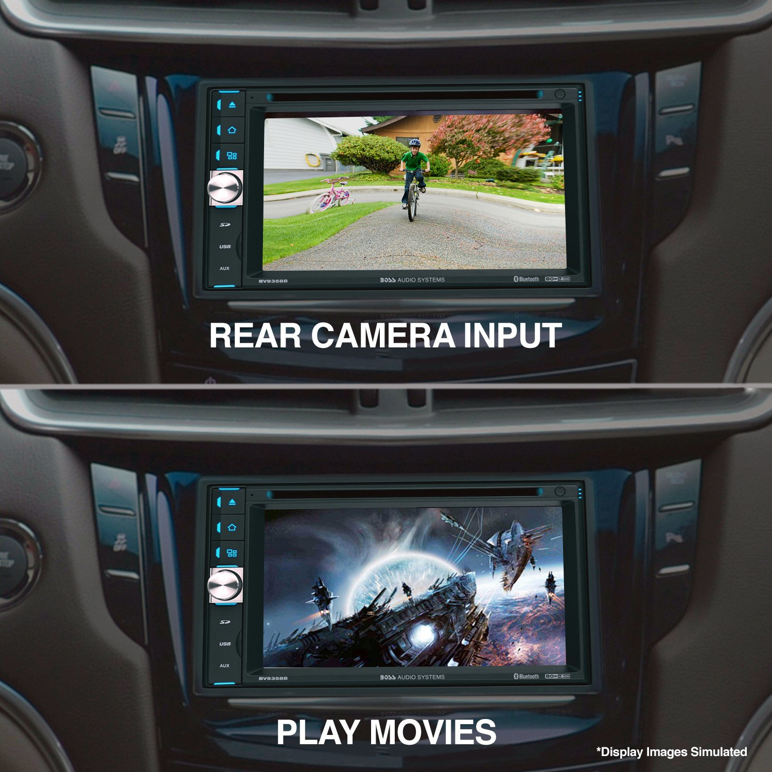 Boss Audio BV9358B using its lcd screen to view rear camera and movies